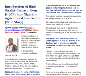 [RECOMMENDED] PDF Report: Introduction of High Quality Cassava Flour (HQCF) into Nigeria's Agricultural Landscape (True Story)